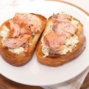 Hot smoked salmon and cream cheese bruschetta